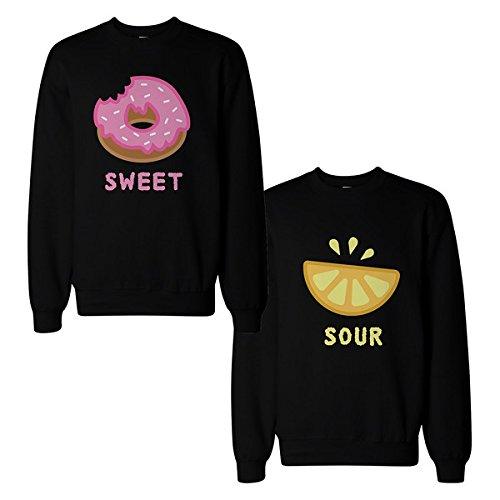 Cute Sweet and Sour Funny A Juego BFF pareja Sudaderas Regalo para mejor amigo -  negro -  izquierda-Small / derecho-Medium