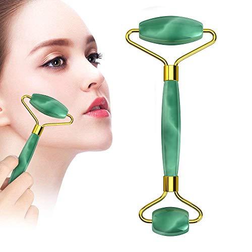 Jade Roller Massagegerät, Anti-Aging Gesichtsroller, Therapie, 100% natürliches Rosenquarz, zum Abnehmen von Gesichtshaut Nacken Augen Körper Massage (grün)