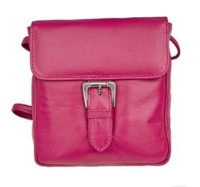 Prime Hide Victoria Range Ladies Leather Buckle Crossbody Bag - 835 Berry