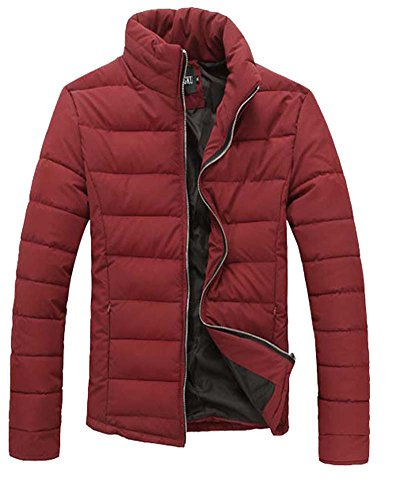 Herren Kurz Jacke Reissverschluss Winter Jacket Kältschutz Daunenjacke Burgunderrot