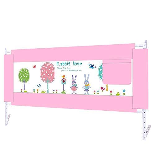 Bettgitter HUO Bettschutzgitter Kinderbettgitter Kinderbett Fallschutz Bettschutzgitter Ausziehbar Bettschutzgitter Extra Hoch (Color : Pink, Size : 200cm)