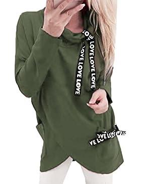 Rollkragen Sweatshirt Damen, DoraMe Frauen Mode Lange ärmel Pullover Unregelmäßigen Bluse Lässige Hemd Verband...