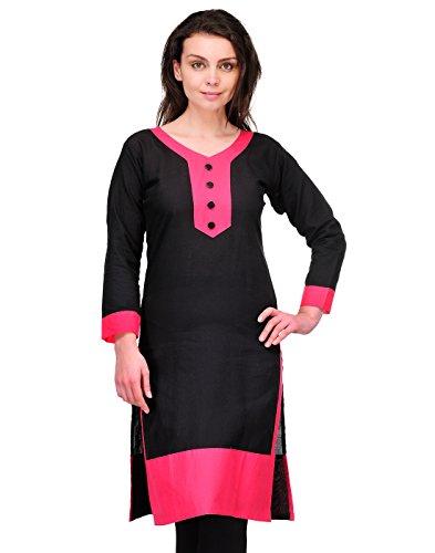 Cenizas Women Cotton Straight Kurta (Kurtis/2143/Blk/Xxl _Black _Xxl)  available at amazon for Rs.249