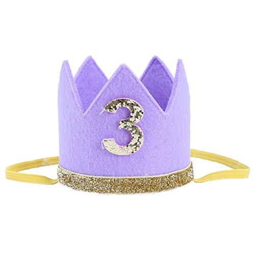 TOOGOO Baby Junge Maedchen ersten Geburtstag Hut Krone Zahlen Stirnband Tiara-Partei Foto Requisiten lila 3