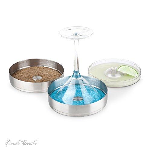 Final Touch Set of 2 Double Tier Cocktail Glass Rimmer Zuckerguss Glasrand Salz- & Zuckerumrander Edelstahl mit einem großen 15 cm Durchmesser - ideal für Margarita oder Martini