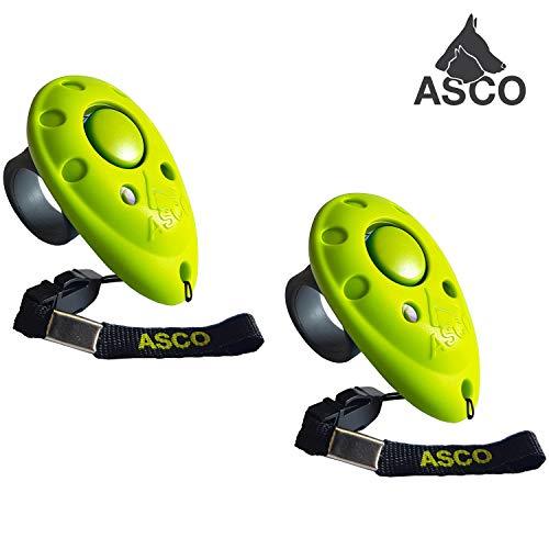 ASCO 2X Premium Clicker, Finger Clicker für Clickertraining, Hunde Katzen Pferde Profi Clicker, Hundetraining Klicker grün AC10F, 2 Stück