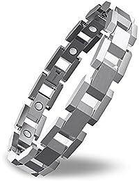 COOLMAN Herren Armband Magnetarmband Titanium Armband Verstellbares Armband 20cm-23cm mit Link Entfernen Tool