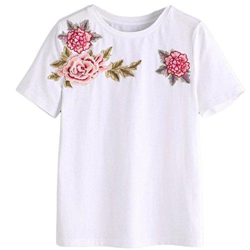 WOCACHI Damen Sommer T-Shirt Mode Frauen Kurzarm O-Ausschnitt Exquisite Rose Bestickte Weiß T-Shirt Bluse Tops (XL/38, Weiß)