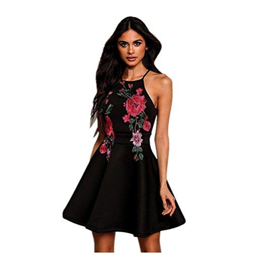 """DOLDOA Frauen-Blumensommer-beiläufiges Sleeveless Partei-Abend-Kurzschluss-Minikleid (Größe: 40 Fehlschlag: 92cm / 36.2 """")"""