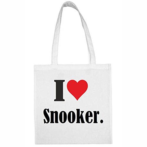 Tasche I Love Snooker. Größe 38x42 Farbe Weiss Druck Schwarz