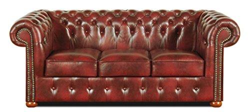 Casa Padrino Chesterfield Echtleder 3er Sofa Weinrot 200 x 90 x H. 78 cm - Luxus Kollektion | Wohnzimmer > Sofas & Couches > Chesterfield Sofas | Echtleder - Leder | Casa Padrino