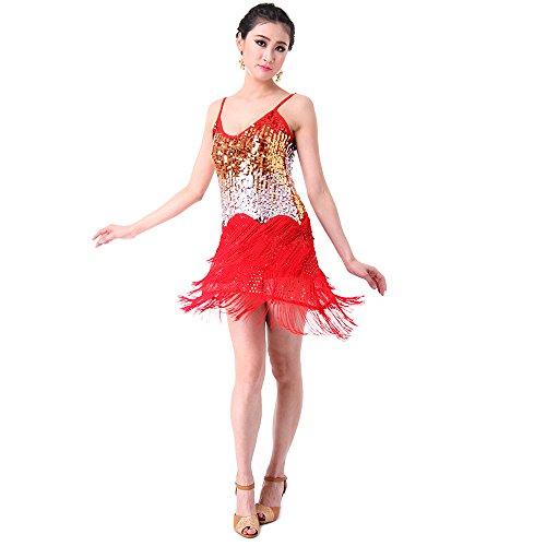 Kostüme Dance Flapper Kinder (SymbolLife Fransenkleid mit Pailletten Damen Spaghetti Gradient Tanz Damen Hochzeitkleid Tanzkleid Partykleid Mini Charleston kleider Kleid Darbietungen Tanzkostüme für Karneval)
