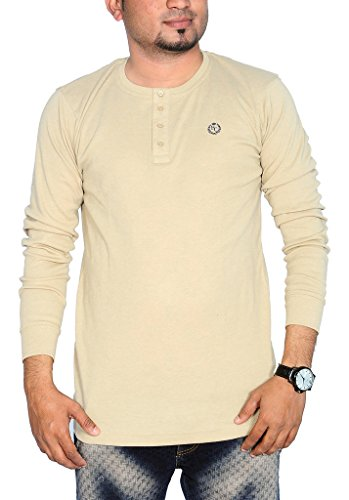 Henry Cotton Men's Henley Neck Full Sleeve Cotton T Shirt (Cement_XXL)  available at amazon for Rs.499