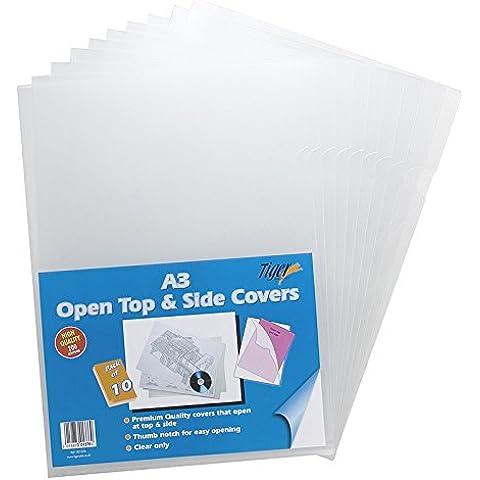 100 x A3 Open Top Side-Cartella per documenti, in plastica, a maniche lunghe