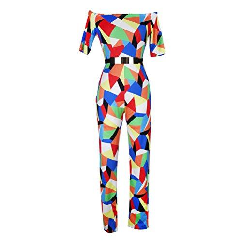 Brinny Sexy manches courtes imprimés Bodycon Party Clubwear Combinaisons de grenouillères des femmes 5 Couleur 4 tailles: S-XL Multicolore