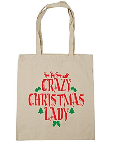 HippoWarehouse Crazy Christmas lady Tote Shopping Gym Beach Bag 42cm x38cm, 10 litres