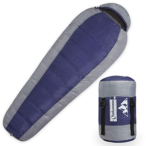 Outdoorsman Lab - Saco de Dormir Ligero con compresión/Bolsa de Almacenamiento, Ultraligero para Mochila, Camping, te mantendrá Caliente en 3 Estaciones al Aire Libre