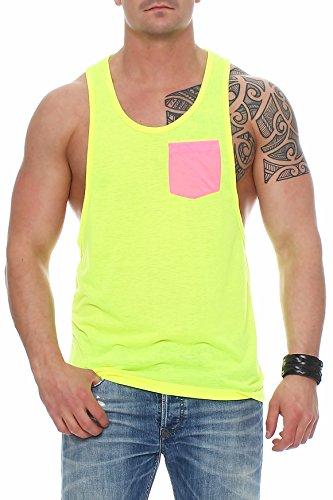 Muscle Shirt Herren Tank Top Neon-Gelb mit Brusttasche in Pink, Größe:XS, Farbe:Neongelb