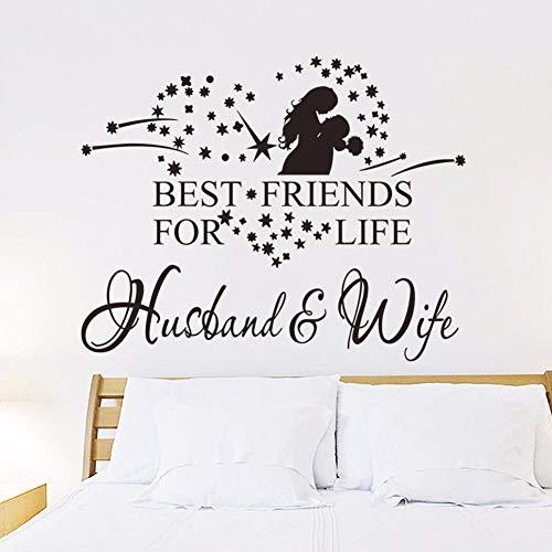 yaoxingfu Vinyl Wandkunst Aufkleber Liebe Paar Wandaufkleber Mann Und Frau Beste Freunde Für Das Leben Zitat Wand Poster Wohnzimmer Dekor A42x33 cm