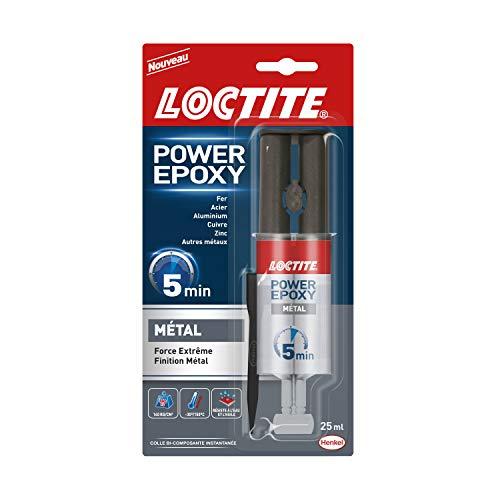 Loctite Colle Epoxy liquide spéciale Metal, Colle epoxy bi-composante couleur métal, Colle forte et rapide pour métaux et autres matériaux, colle ultra résistante, seringue de 25 ml