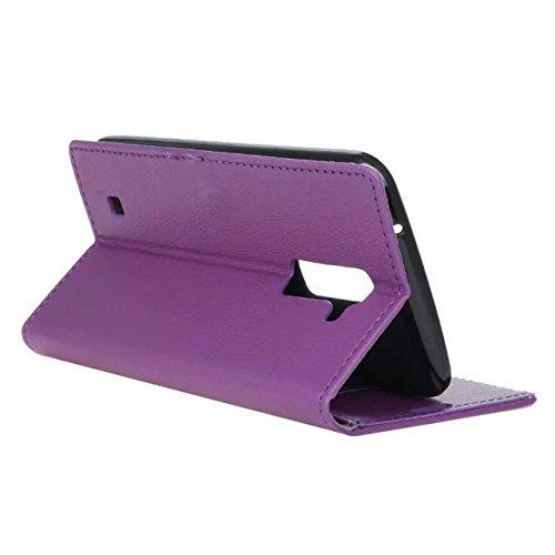 LG K7 Case, Kas Texture Korn-Muster PU-lederner Fall-Abdeckungs-fester Abdeckungs-Fall-horizontaler Schlag-Standplatz-Fall-Mappen-Kasten mit Karten-Schlitzen für LG K7 ( Color : White , Size : LG K7 ) Purple