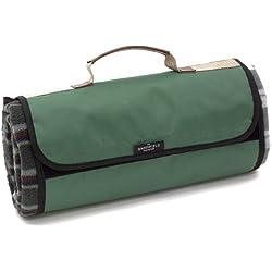 The Greenfield Collection PB002H - Manta de Picnic Forrada, Resistente al Agua diseño escocés, Color Verde Bosque