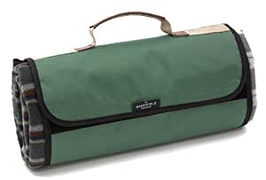 Greenfield Collection Luxury Forest Green Plaid Moisture Resistant Picnic Blanket