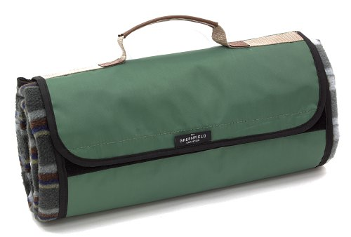 The Greenfield Collection PB002H - Manta de picnic forrada, resistente al agua diseño escocés, color verde bosque width=