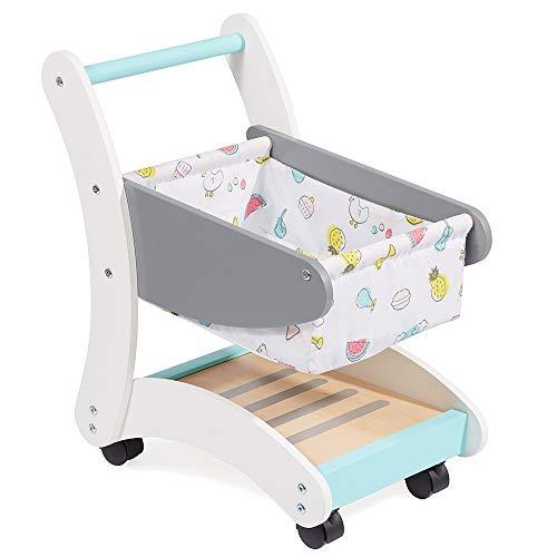 Howa Einkaufswagen Funny für Kinder aus Holz weiß / grau / türkis 48822