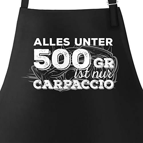 PEP Grill-Schürze für Männer mit Spruch Alles unter 500g ist Nur Carpaccio Herren Schürze zum Grillen schwarz Unisize