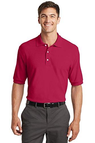 Port Authority Herren Button-down Poloshirt Rot