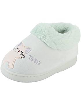 Eozy Baby Kinder Plüsch Hausschuhe Jungen Mädchen Winter Warm Cartoon Katze Pantoffeln Slipper Rutschfeste