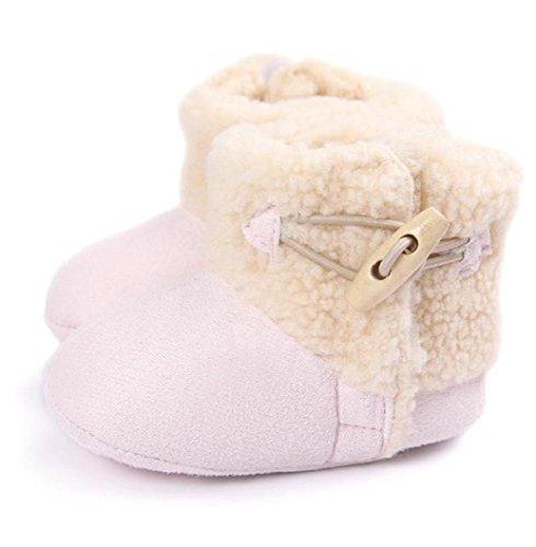 BZLine - Unisexe Bébé Coton Chaussure de premier pas Keep Warm - Semelle à tissu - Souple (6~12 Mois, Rouge) Pink