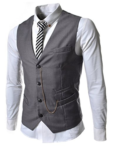 Angcoco Manner Armellose Kette Punkt Casual Slim Fit Blazer Anzug Weste