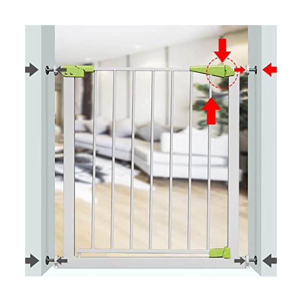 Infant child baby safety gate bar stairway fence free punching household protective railings pet dog isolation fence AA-SS-Safety Door ♥Squeeze and lift handle for easy one handed adult opening ♥Quick-release fittings for removal when not required ♥Includes stop pins for mounting at the top of stairs 2