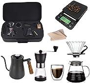 ليتل بيسز - مجموعة ادوات صنع القهوة بالتقطير 60 فولت، تتضمن مرشحات ومقطرة وكوب تقديم زجاجي ومطحنة ومقياس مع مؤ