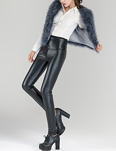 Sitengle S-3XL Damen dehnbar Leggings Skinny PU Leder Leggings Lederhosen Schwarz(mit Fleece)