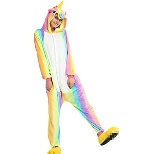 pijama de unicornio kawaii JYSPORT Unicornio Pijama Cosplay Disfraces Animal Ropa Carnaval Halloween Navidad Pijama (Unicornio del arco iris, M: se adapta a la altura 62.2 - 66.1 inch)