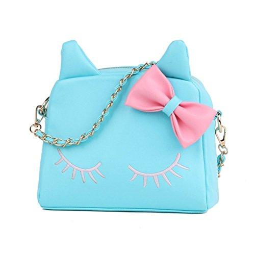 Honeymall Borsa Donna Nera Tracolla Carino Gatto in Pelle PU Borse Spalla Piccola a Mano Elegante Bag per Ragazze Nero Blu