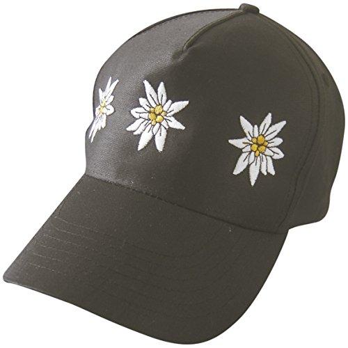 Baseballcap mit Einstickung - Edelweiss Blüten - 68074 schwarz