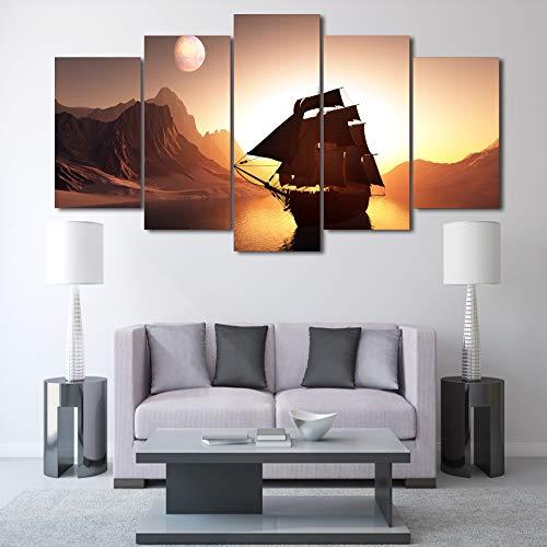 mmwin Leinwand Poster Wandkunst HD Gedruckt Wohnkultur 5 Panel Sonnenuntergang Berg Segelboot Wohnzimmer Modulare d Bilder