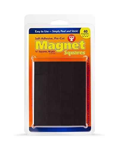 Hygloss Products Selbstklebende Flache Mini-Magnet-Quadrate für Zuhause, Büro, Schule, Whiteboard und Pinnwand Squares (3/4-Inch) 40 Pcs schwarz -