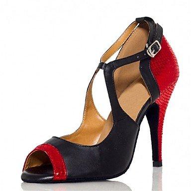 Silence @ pour femme Chaussures de danse latine/Jazz/Chaussures de swing/Salsa/Samba en similicuir Talon Multicolore Noir/doré