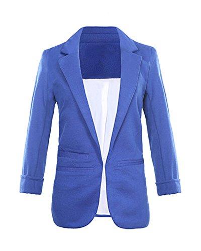 Minetom Damen Elegante 3/4-Arm Blazer Sakko Einfarbig Slim Fit Vorne Offnung Tasche Tailliert Geschäft Büro Kurzjacke Jacke Mantel Königsblau DE 40 (Royal Blauer Blazer)