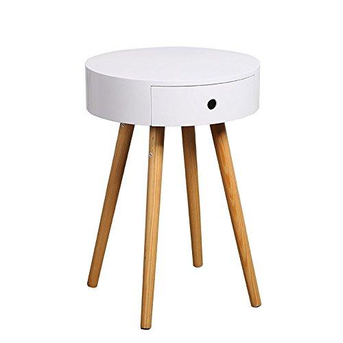 LongYu Weiß Holz Side End Tisch Nachttisch mit Schublade Massivholz Beine Wohnzimmer Möbel (Warenkorb 3 Schubladen Braun)