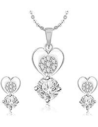 Meenaz Pendant Set For Women & Girls Earrings In American Diamond Silver Plated CzPT206