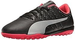 PUMA Mens Evopower Vigor 4 TT Soccer Shoe, Puma Black/Puma Silver/Quiet Shade/Bright Plasma, 4. 5 M US