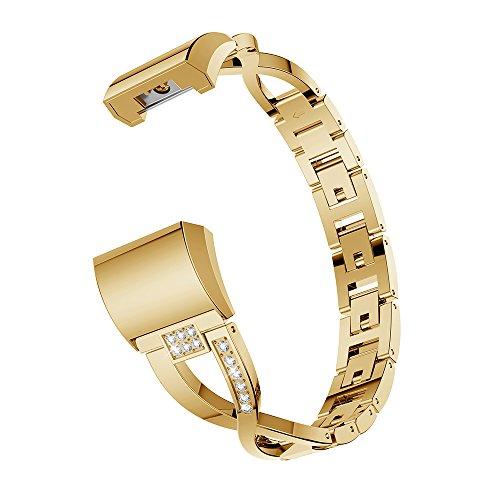 Gimartuk Metall Bands für Fitbit Laden 2, Ersatz Laden 2Armbanduhr Bands Edelstahl Armband Armreif Armband Zubehör Gurt für Fitbit Laden HR 2Kleine groß, Damen, WF-416, Gold, 5.5-8.1 inch (Gold-armband 7 Zoll)