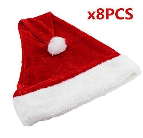 UChic 8 STÜCKE Nette Rote Weihnachten Offizielle Plüsch Weihnachtsmann Hut Komfort Liner Weihnachten Halloween festival Kostüm für Hüte Kappen Für Erwachsene Kinder Kinder Festliche Geschenke Home Party Dekoration Weihnachtsmann Hut (Diy Damen Weihnachtsmann Kostüm)
