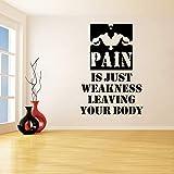 zxddzl Schmerz Ist Nur Schwäche Verlassen Sie Ihren Körper Entfernbare Wandaufkleber Für Läufer Gym Hantel Vinyl Aufkleber Wohnzimmer Kunst 56 * 68Cm